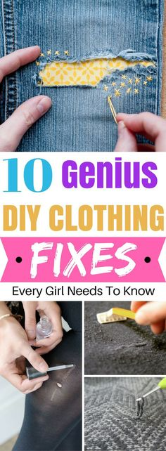 Brilliant DIY Clothing Fixes That Every Girl Should Know Great list of clothing hacks to try! Definitely need to try this on some of my damaged clothes!Great list of clothing hacks to try! Definitely need to try this on some of my damaged clothes! Sewing Hacks, Sewing Tutorials, Sewing Crafts, Sewing Tips, Upcycled Crafts, Techniques Couture, Sewing Techniques, Diy Kleidung, Creation Couture