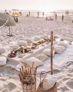 a chic neuutral boho beach picnic setting with crochet pillows, a white tablecloth and lots of food beach wedding Beach Wedding Colors, Boho Beach Wedding, Beach Wedding Decorations, Trendy Wedding, Rustic Wedding, Beach Weddings, Wedding Parties, Perfect Wedding, Dream Wedding