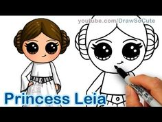 How to Draw Star Wars Princess Leia Cute step by step Easy