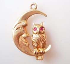 Vintage 9ct Gold Owl and Moon Gem Set Charm by TrueVintageCharms, £135.00