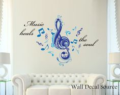 Music Heals The Soul Wall Decal - Modern Music Notes Vinyl Art Stickers on Etsy, $39.00
