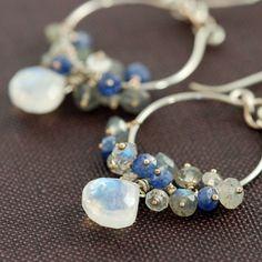 Pendientes de araña de plata con aubepine Moonstone zafiro labradorita racimos, azul gris collar pendientes de piedras preciosas,