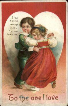 Valentine - Children Dancing - Ellen Clapsaddle c1910 Postcard