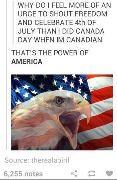 """Funny because I live in America and I barely celebrated the fourth, but I went ALL out for Canada day. I baked a cake, I wore white sweatpants and a Canada hoodie, and I made sure to say """" happy Canada day!"""" At least 10 times My Tumblr, Tumblr Funny, Tumblr Posts, Funny Memes, America Memes Funny, Funny Cute, The Funny, Hilarious, Haha"""