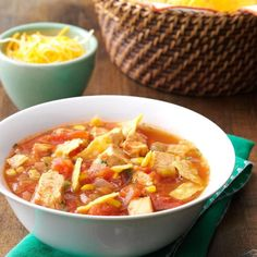 Southwestern Chicken Tortilla Soup Recipe -The spices really liven up this filling chicken tortilla soup. I often double the recipe, freezing leftovers for future dinners or quick lunches. —Anne Smithson, Cary, North Carolina