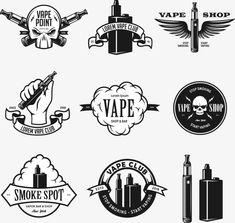 Set of vape e-cigarette emblems labels prints Vector Image , Pag Web, Shark Silhouette, Vape Design, Rockabilly Art, Vape Art, Vape Smoke, Cloud Vector, Graffiti Lettering, Vape Juice