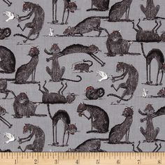 Oddities Cats Allover Grey from @fabricdotcom  Designed for Elizabeth's Studio , this cotton print is perfect for quilting and  craft projects as well as home décor accents. Colors include white, red, grey and black.