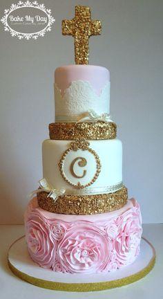 First communion cake with fondant rosettes/ruffles and gold sequins Communion Cakes, First Communion, Rosette Cake, Gold Sequins, Fondant Cakes, Custom Cakes, Rosettes, Hustle, Ruffles