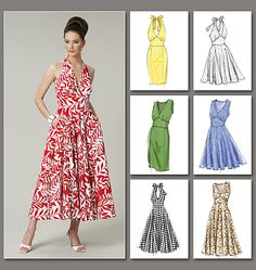 Sewing pattern, custom design, couture clothes, Vogue: dress with wide strap or halter neckline, alternate straight or swing/full skirt V8727