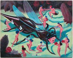 "Ryan Heshka "" Wings of Glass "" acrylic, mixed media on panel image 16"" x 20"" framed (ornate wood vintage) 24"" x 28"" $2850."