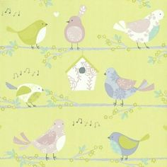 Song Birds (G56004) - Brewers Wallpapers - A sweet stripe effect, with decorative birds, flowers and bird house.