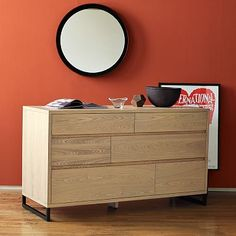 "Hudson 6-Drawer Dresser #WilliamsSonoma     56""w x 21""d x 32""h."