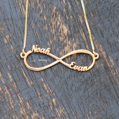 Infinity Necklace with Two names  14k gold by WEdesignJewelry, $55.00