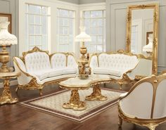 Living Room:Luxurious Victorian Style Living Room Design With White Leather Sofa And Gold Furniture Idea Victorian Style Living Room for Something Good and Elegant