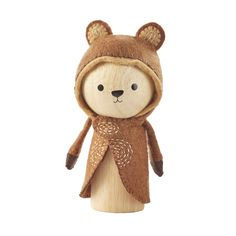 Leo is a self-made bear who grew up on a game preserve. It wasn't always fun and games but most of the time. Leo has a playful spirit and entertaining look at life what makes it beariffic. Made from rubberwood and meticulously sewn wool with a metal snap for easy removal 4 inches wide by 7 inches tall
