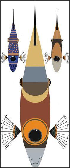 Charley Harper - Triggerfish trio