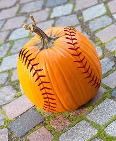 Celebrate the baseball season and Halloween by decorating a pumpkin into a baseball! Crafting ideas are simpler than you'd think! Halloween Pumpkins, Halloween Crafts, Holiday Crafts, Holiday Fun, Halloween Decorations, Holiday Ideas, Halloween Stuff, Halloween Favors, Halloween Tricks