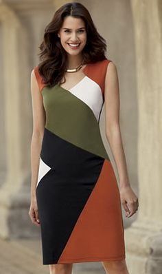 Angles of color blocking keep the eye moving for a pleasing balance. Indian Fashion Dresses, Fashion Outfits, Dress Outfits, Casual Dresses, Trendy Dresses, Long Dress Design, Fashion Sewing, Colorblock Dress, Classy Dress