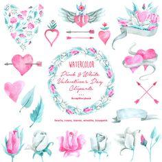 Pink & White Valentine's Day Cliparts  digital by Scrapstorybook