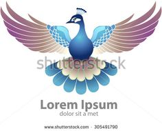 Vector Peacocks flying and flapping its wings - stock vector