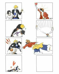 Ace, Sabo, Luffy, brothers, cute, window, hearts, funny; One Piece