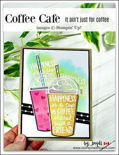 coffee cafe Coffee Cafe, Stampin Up, stampin with - coffee Pretty Cards, Cute Cards, Card Tags, I Card, Cafe Cup, Coffee Cards, Coffee Gifts, Coffee Drinks, Coffee Theme