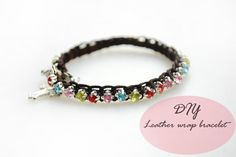 Picture of How to make beaded leather wrap bracelet with Shinning Rhinestone Bead