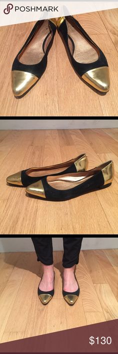 Kate Spade Black Suede and Gold Cap Toe Flats Kate Spade black and gold pointed ballet flats. Like new condition. Size 8.5. kate spade Shoes Flats & Loafers