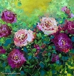 Pink Rose Rhapsody - Flower Painting Classes and Workshops by Nancy Medina Art, painting by artist Nancy Medina