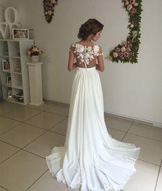 prom dresses,ivory chiffon lace round neck long prom dress, evening dress