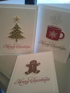"CAS Christmas Notecards **** SU ""Scentsational Season"" stamp image & ""Holiday Collection"" Framelits Dies, 2012 Holiday Mini."