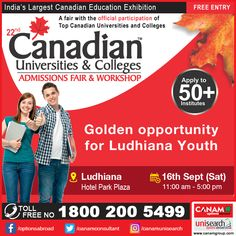 It's going to be a special day for Ludhiana's youth tomorrow as #Canam brings Admission Fair & Workshop where you can get detailed information about all the best #colleges, #universities and education opportunities in your dream country Canada. Register now to make your dreams come true! #CanadaEducationFair #CanamConsultants