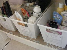 Have a different basket for you, husband, and kids under sink for bathroom storage.  Easier to find and put away.