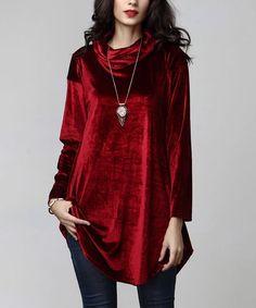 Red Velvet Cowl Neck Tunic
