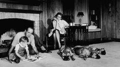 Lauren Bacall and Humphrey Bogart at home