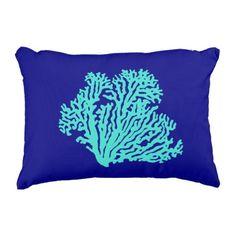 Turquoise Coral On Navy Blue Coastal Decor Decorative Pillow