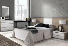Dormitorio matrimonio compuesto cabecero y 2 mesitas roble y blanco | Muebles Moblerone