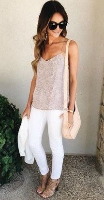 summer outfits  Blush Tank + White Skinny Jeans