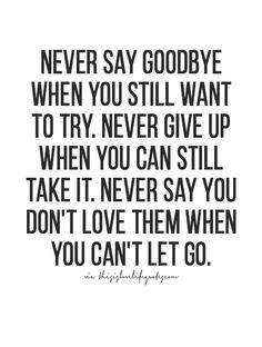 Never when to try dont take it as cant let you go -nina not everyones a politcian