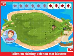 Tellen en richting oefenen met kleuters op digibord of computer op kleuteridee, Kindergarten math for IBWB or computer Coding For Kids, Thing 1, Treasure Island, Preschool, Bee, Education, Math, Learning, Ipad