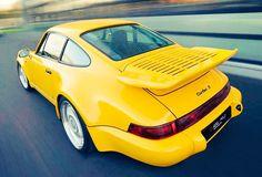 Porsche 911 Turbo S - Yellow Car Porsche 964, Porsche 911 Models, Porsche Sports Car, Porsche Cars, 911 Turbo S, Volkswagen Group, Roadster, Yellow Car, Vintage Porsche