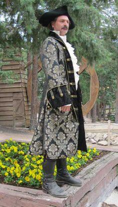 Pirate coat 18th century metallic brocade men's coat black contrast fabric. Really nice!