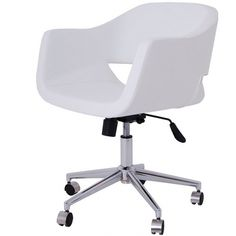 Cornelia Office Chair In White Leather   Memoky.com