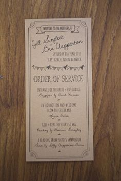 Trendy Wedding Ceremony Order Layout Fonts Ideas T Humanist Wedding Ceremony, Order Of Wedding Ceremony, Wedding Order Of Service, Ceremony Programs, Wedding Programs, Wedding Venues, Seaside Wedding, Rustic Wedding, Lace Wedding