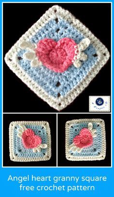 crochet winged heart granny square, crochet angel heart, heart granny square | free crochet pattern