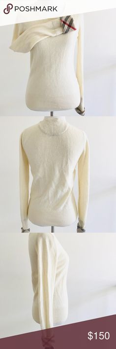 """Burberry Womens Crewneck Cashmere Sweater Size S Burberry Ash Womens Crewneck Cashmere Sweater Size S Fitted Long Sleeves Type: sweater - fitted, long sleeves, sleeves hems have some rips/holes - see closeups pictures, Authentic! - see all pictures! Brand: Burberry Color: beige Size: S (please note size tag got off! see measurements!!) Measurements: armpit to armpit  16"""" length from shoulder 23""""  sleeves length from shoulder 27"""" May be a little wrinkled from being folded!  Thank you for…"""