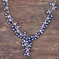Pearl and amethyst pendant necklace, 'Violet Iridescence' by Kai for NOVICA