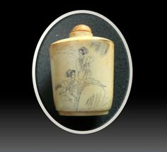 vintage bottles for women | Scrimshaw Vintage Oriental Carved Snuff Bottle Women Scenes Free ...
