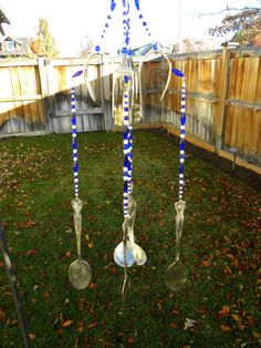 Wind chime made from silver forks and spoons - blue and white glass be - Whispering Metalworks