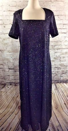 Onyx Nite Formal Black Sparkle Dress Full Length Sz 16 Embellished Short Sleeves #OnyxNite #Formal #Formal